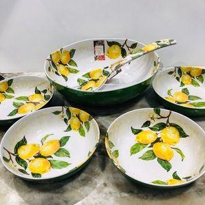 Nicole Miller Melamine serving set, Lemon bowl set